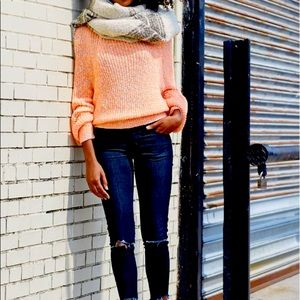 Free People Neon Orange Pullover Sweater